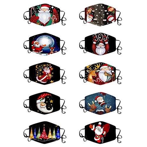 Stoota 10PC Christmas Face Masks, Santa Claus Snowman Reindeer Masks, Mouth Cover Reusable Washable Anti-Dust Balaclava (Multicolor R, One Size)