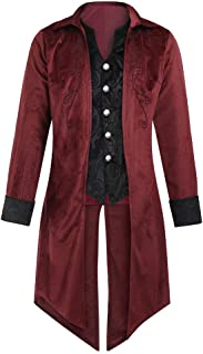 Steampunk Coat,4 Styles Mens Luxury Velvet Vintage Victorian Gothic Tailcoat Jacket,Asian Size