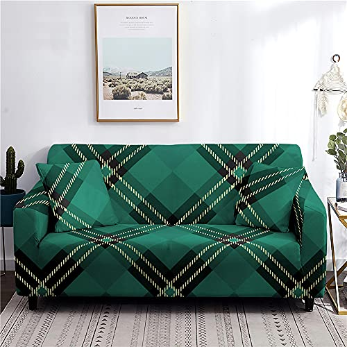 Hearda Funda para Sofá Elástica, Impresión de Celosía Rayas Universal Antideslizante Cubierta de Sofá Funda Cubre Protector para Sofás Decorativa (Verde,1 Plaza - 90-140cm)