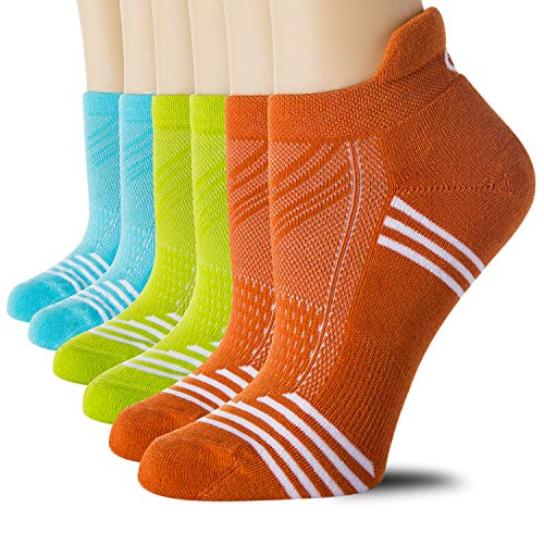 CelerSport Ankle Athletic Running Socks Tab Colorful Socks for Women, Green, Blue, Orange, Medium(6 Pair Pack)
