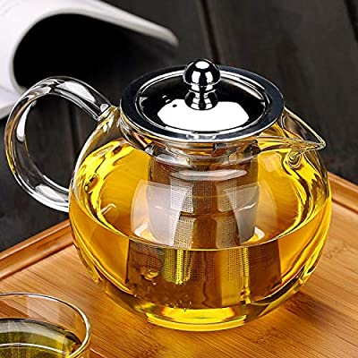 Nutmeg Glass Teapot with Infuser, Borosilicate Glass Tea Pot with Tea Strainers for Loose Leaf Tea, with Removable 304 Stainless Steel Infuser, Microwavable and Stovetop Safe (660 ml/22.3 OZ)