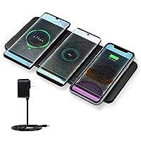 JE Qi承認 急速多機能ワイヤレス充電器 スマホ3台同時充電 超軽量 ワイヤレスチャージャーiPhone XS MAX/XR/XS/X / 8/8 Plus 置くだけ充電 Samsung Galaxy Qi規格に準拠した各端対応 ブラック