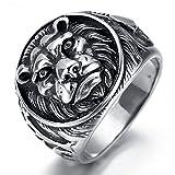 KnBoB Herrenring Feder Löwe Schwarz Größe 70 (22.3) Edelstahl Ring Herren Schwarz