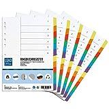 Ringbuchregister, 5er Set, Register mit je 12 Taben in 6 Farben, 29,6 x 21,1 cm, gelocht, 160g/m², DIN-A4 Format, Trennblätter mit beschreibbarem Deckblatt für A4 Ordner