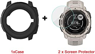 for Garmin Instinct Case, Lamshaw Silicone Case with Screen Protector (2 Pack) for Garmin Instinct Watch (Black case+ Scre...