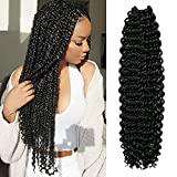 """5 Packs 22"""" AU-THEN-TIC Passion Twist Hair Water Wave Crochet Braids Hair for Butterfly locs, Bohemian Goddess locs Synthetic Braiding Hair Extensions, Free Gift (5-PACK, 1)"""