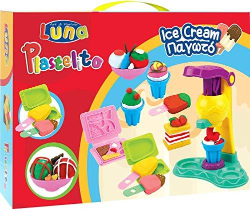 Luna Kinder Knetset EIS Eisdiele mit 5 Dosen Soft Knete Eismaschine Pressen