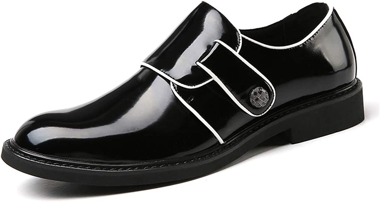 Easy Go Shopping Men's Business shoes Oxford Loafer Two Tone PU shoes Casual Microfiber Upper Hook&Loop Strap Flat Slip On Round Toe Cricket shoes