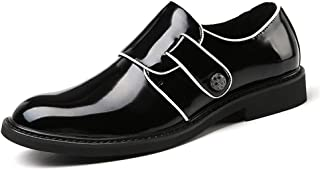 2019 Mens Summer Black Loafers Men's Business Oxford Loafer for Men Two Tone PU Dress Shoes Casual Microfiber Upper Hook&Loop Strap Flat Slip On Round Toe Shoes