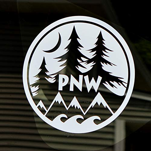 Round PNW Decal | 4' White car or Truck Window/Bumper Sticker | Mountain, Ocean & Trees Unique Design for Vehicle, Laptop or Water Bottle
