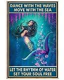 Azsteel Set Your Soul Mermaid | Cartel sin marco para decoración de oficina, el mejor regalo para familiares y amigos de 11.7 x 16.5 pulgadas
