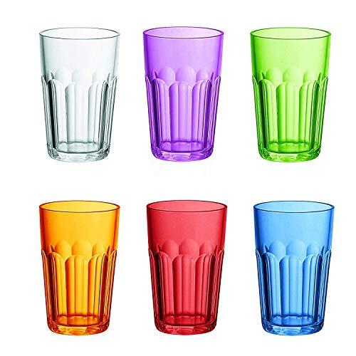 Fratelli Guzzini Happy Hour Set 6 Bicchieri Molati Alti, San, Multicolore, 0.02x8x41 cm, 6 unità