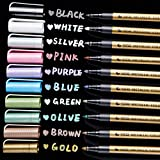 Ohuhu Premium Metallic Marker Pens Fine Tip, Set of 10 Glitter Paint Pen Window Marker for DIY Card Making, Coloring Books, Scrapbook Photo Album, Rock Art, Glass Valentine's Day Back to School Gifts