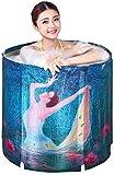 RXL, Bañera plegable Plegable Baño barril adulto de la familia de cuerpo completo portátil burbuja profunda pequeña bañera for adultos baño en barrica de madera de barril Mini Bañera inflable