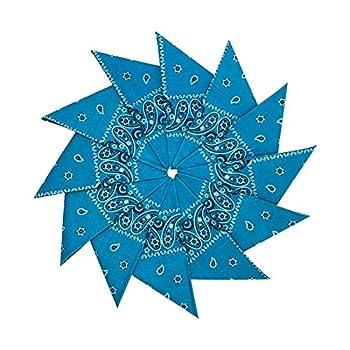 Junvena Cotton Bandanas 12 packs 22 X 22  Double Sides Printed Unisex Kerchief  Turquoise