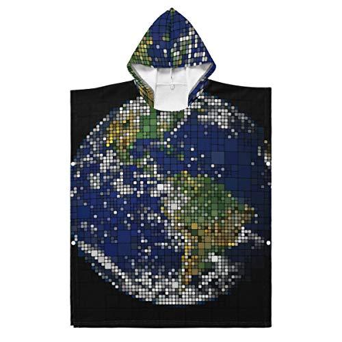 LORONA Kinder Teens Polyester-Baumwoll-Mischgewebe Erde Planet Globus Weltkarte Strandtuch Umhang Decke tragbar Kapuzendecke Hoodie Umhang, Polyester, mehrfarbig, 35.43x27.55in/90x70cm