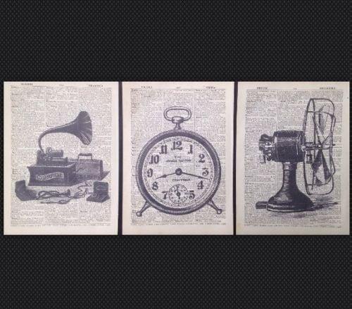 3 stampe industriali vintage dizionario pagina di stampa artistica da parete hipster riciclato