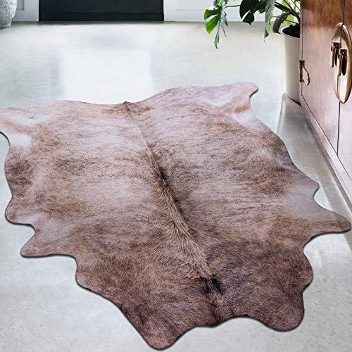 Taleta Teppich Rindsleder kuhfell kunstfell Rindslederteppich Wohnzimmer grau Größe: 155x190cm