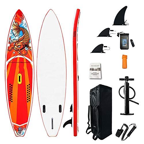 Stand Up Paddle Board Set 305 * 76 * 15Cm Tabla De Sup Inflable, Paleta Ajustable, Bomba De Mano con Manómetro, Mochila, Tabla De Remo, Tabla De Surf Antideslizante