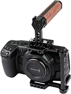 CAMVATE Professional Cage with Wooden Top Handle for BMPCC 4K(Blackmagic Pocket Cinema Camera 4K)