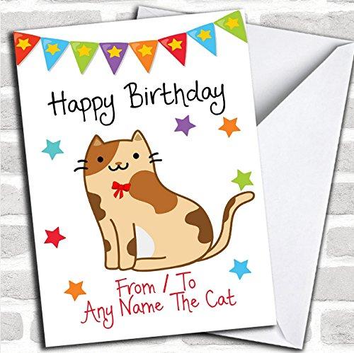 Van huisdier kat Tortoiseshell aangepaste verjaardagskaart