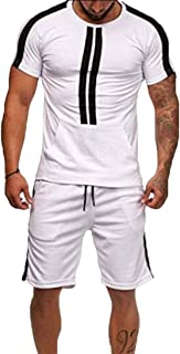 Men Sport Set Summer Casual Short Sleeve Tops Short Pants Fit Tracksuit Outfits