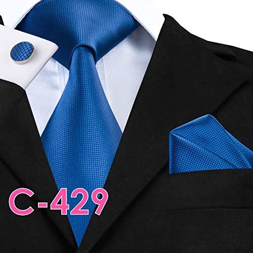 DJLHNPajarita de Seda sólida Pajarita para Hombres Corbata Pañuelo Gemelos Corbata por Gravedad Boda de Hombres - C429, Estados Unidos