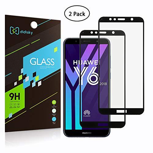 Didisky [2-Unidades Cristal Templado Protector de Pantalla para Huawei Y6 2018 / Honor 7A, Antihuellas, Sin Burbujas, Fácil de Limpiar, 9H Dureza, Fácil de Instalar, Negro