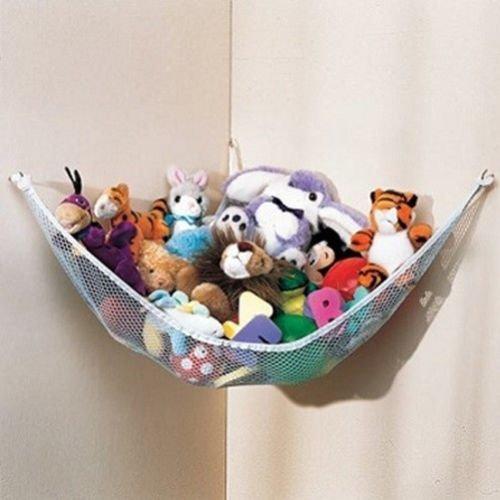 Dozenegg Stuffed Animal & Toy Organizer Hammock Pet Net, White Net and Trim