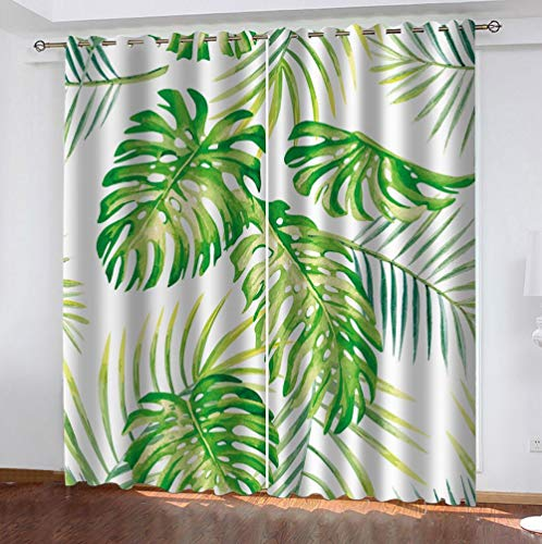 zpangg Black Out Window Cover Monstera Blackout For Children Bedroom Eyelet Thermal Insulated Room Darkening Curtains For Nursery Living Room Bedroom 220×215Cm