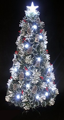 Snowy Flocked Pine Cone and Berry Fiber Optic Christmas Tree