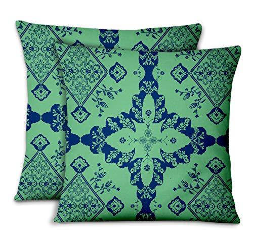 S4Sassy Vert Popeline de Coton Floral dicor'la Maison taie d'oreiller Jeter Housse de Coussin en Tissu imprimi 2pièces-16 x 16 Pouces