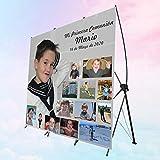 Photocall completo MARIO-08 Primera Comunión | Personalizado completamente | Fabricado en España impreso a todo color | Calidad Fotográfica, fácil colocación | Incluye SOPORTE (80X200 CM)