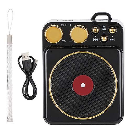 ASHATA Retro Bluetooth luidspreker, klassieke retro mini platenspeler dDesign draagbare luidspreker, DC 3,7 V Retro Bluetooth 5.0 luidspreker met Smart Audio Voice Broadcasting, zwart