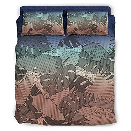 WellWellWell Juego de cama de cuatro piezas con diseño de plantas tropicales,...
