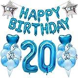 Ouceanwin 20 Cumpleaños Decoraciones Azul, Gigante Helio Globos Número 20, Bandera de Globos Happy Birthday, Globos de Confeti de Latex, 20 años Fiesta de Cumpleaños Kit para Niño Niños