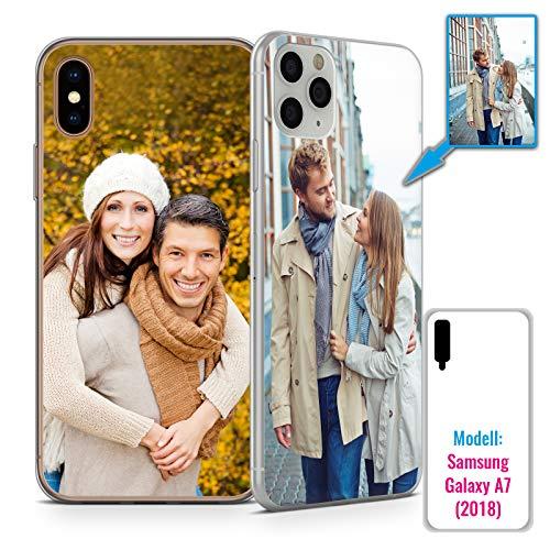 PixiPrints Foto-Handyhülle mit eigenem Bild kompatibel mit Samsung Galaxy A7 (2018), Hülle: dünnes Slim-Silikon in Transparent, personalisiertes Premium-Case selbst gestalten mit flexiblem Druck