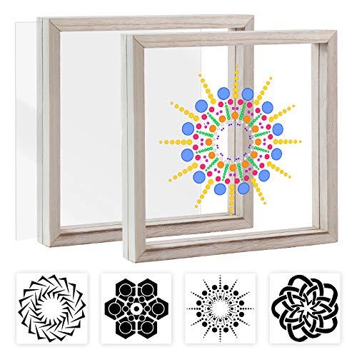 Pajaver Suncatcher Fensterdeko Glasmalerei DIY Kit Fensterbilder Mit 2 Bilderrahmen und 4 Mandala-Mustervorlagen Passend für Mosaic Kit für Home Office Decor Zum Basteln und Aufhängen für Kinder