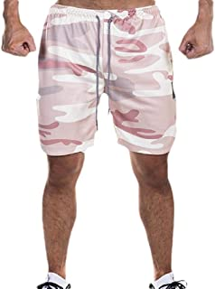 XINHEO Men Pocket Quick Dry Loose-Fit Plus-Size Casual Short Pants
