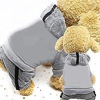 ペット服 グレート2 PCS犬オーバーオールペットスーツ子犬猫の服のために犬のコート厚手のペット犬の服のためにペットの犬服、サイズ:S(ブルー) (色 : Grey)