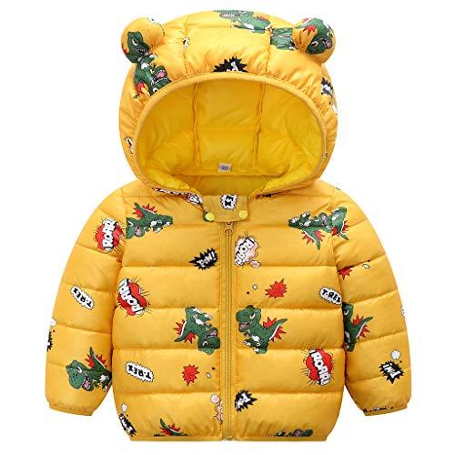 Bebé Invierno Chaqueta Niños Oreja Capucha Abrigo Acolchado CáLido Ligero Niñas Trajes Amarillo 6-12 Meses