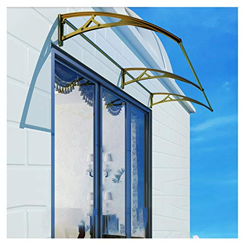 YF-Barstool Canopy Awning for Door and Window Door Canopy PC 31.5' X 94.5' / DIY Polycarbonate Cantilever Awning/Window Door Pathway Walkway Garden Shed Porch Patio (Gold Bracket - Clear Sheet)