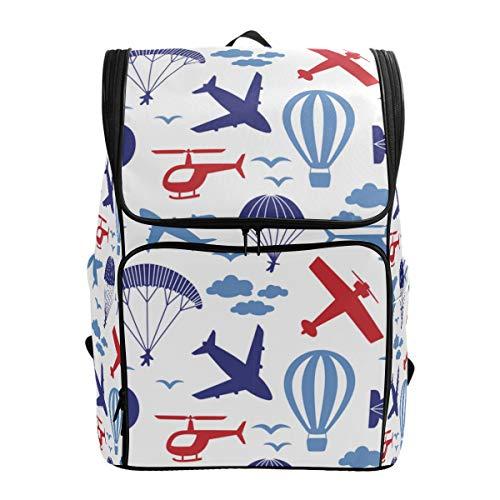 LISNIANY Rucksack,Vektor Nahtloser Muster Flugzeug Hubschrauber Fallschirm,Computertasche,Schultasche,große Kapazität