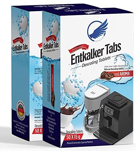 50 Mehrzad Entkalker Tabs Entkalkungstabletten für Kaffeevollautomaten, Espresso- & Kaffeemaschinen Heißwassergeräte kompatibel mit Delonghi, Jura, Siemens, Miele, Melitta, Krups, WMF, Senseo...
