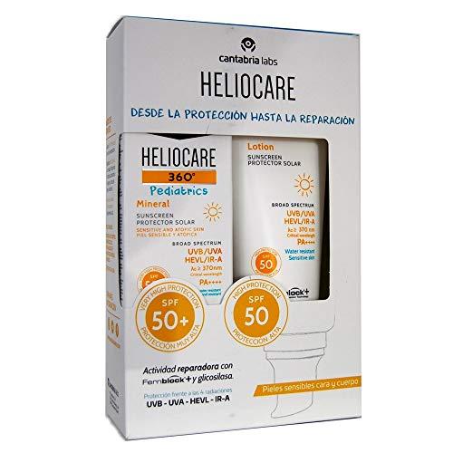 Heliocare Mineral Pediarics, Pack Pieles Sensibles Cara crema 50ml y Cuerpo Loción 200 ml.