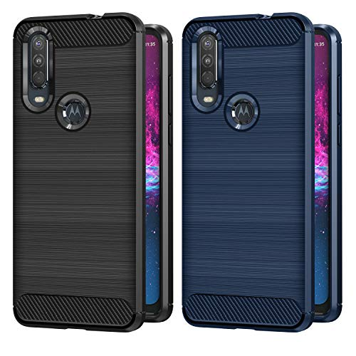 VGUARD 2 Stücke Hülle für Motorola Moto One Action, Carbon Faser Hülle Tasche Schutzhülle mit Stoßdämpfung Soft Flex TPU Silikon Handyhülle für Motorola Moto One Action - (Schwarz+Blau)
