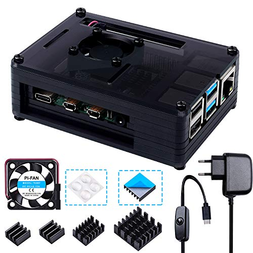 Bruphny Caja para Raspberry Pi 4, Caja con Cargador de 5V / 3A USB-C con Interruptor ON/Off, Ventilador de Refrigeración y 4 X Disipador para Raspberry Pi 4 Modelo B