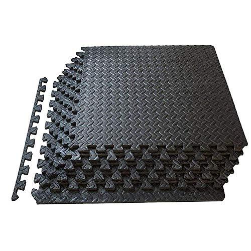 Alfombra de protección de suelo, 60 x 60 cm, baldosas de espuma EVA de 12 mm de grosor, alfombra puzle de fitness, deporte, sin BPA + bordes, aislamiento contra golpes, ruidos, arañazos (negro)