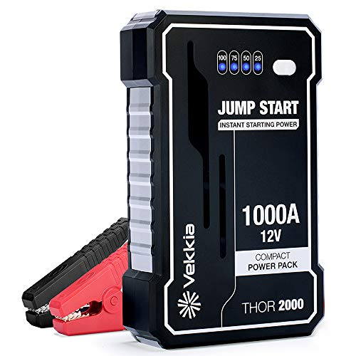 Read About Vekkia Portable Lithium Car Jump Starter Power Pack Battery Booster, 1000A Peak Start Dea...