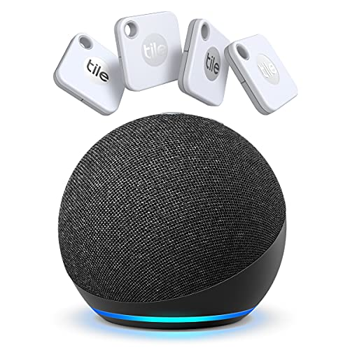 Tile Mate 4-Pack -Bluetooth Tracker,Keys Finder and Item Locator for Keys,Bags and More;Water Resistant with 1 Year Replaceable Battery with New Echo Dot 4th Gen Smart Speaker Alexa Charcoal